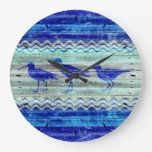 Rustic Navy Blue Coastal Decor Sandpipers Large Clock