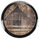 Rustic old barn in winter. aquarium clock
