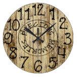 Rustic Personalized Brown Wood Precious Memories Large Clock