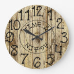 Rustic Personalized Brown Wood Time and Again Large Clock
