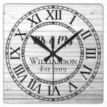 Rustic Personalized Gray Wood Custom Square Wall Clock