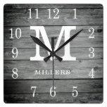 Rustic Personalized Grey Wood Farmhouse Monogram Square Wall Clock