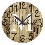 Rustic Personalized Monogram Wood Anniversary Large Clock