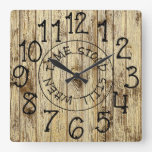 Rustic Personalized Wood When Time Stood Still Square Wall Clock