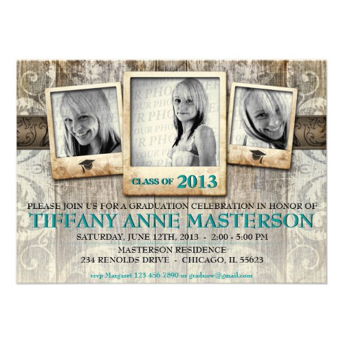 Rustic Photo Graduation Announcement Invite