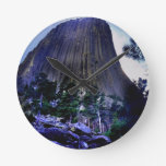 Rustic Photo of Devil's Tower Round Wall Clocks