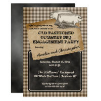 Rustic Pig Roast Backyard BBQ Engagement Party Card