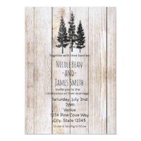 Rustic Pine Trees Wooden Simple Country Wedding Card