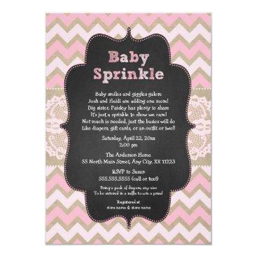 Rustic Pink Baby Sprinkle Invite, girl baby shower Invitation