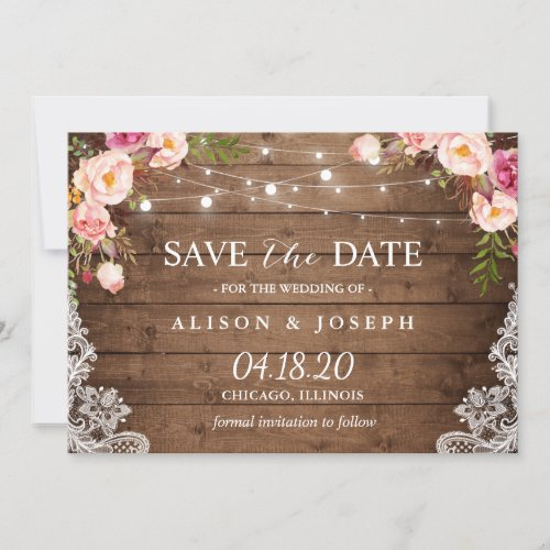 Rustic Pink Floral Lace String Light Save the Date