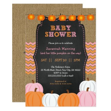 Rustic Pink Orange Pumpkin baby shower invitation