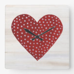 Rustic Polka Dot Valentine Heart Square Wall Clock