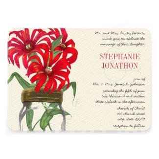 Rustic Poppy Red Mason Jar Wild Flower Wedding Custom Invitation