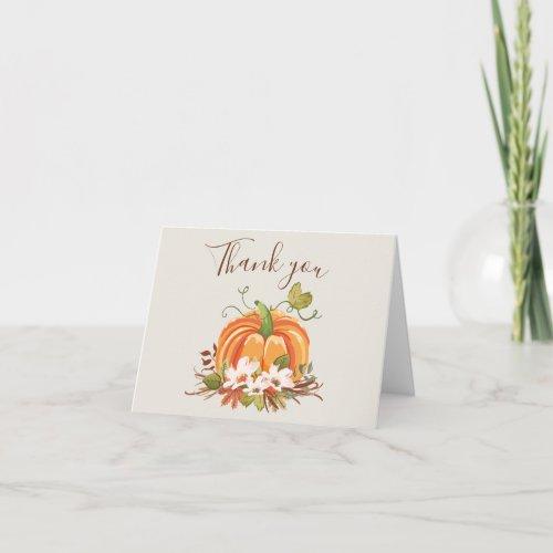 Rustic Pumpkin Thank you card Autumn Fall Neutral