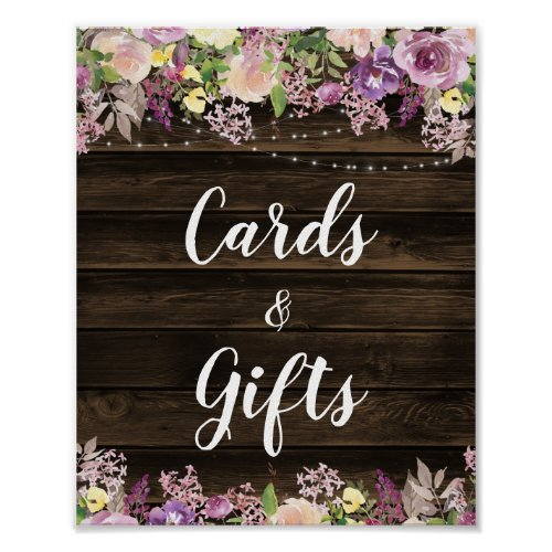 Rustic Purple Floral String Lights Cards &amp&#x3B; Gifts Poster
