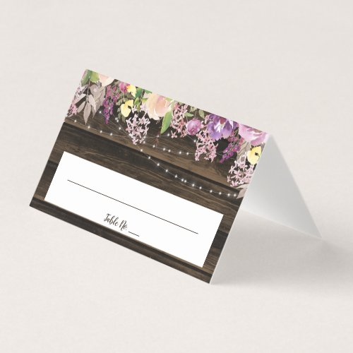 Rustic Purple Floral String Lights Wedding Folded Place Card