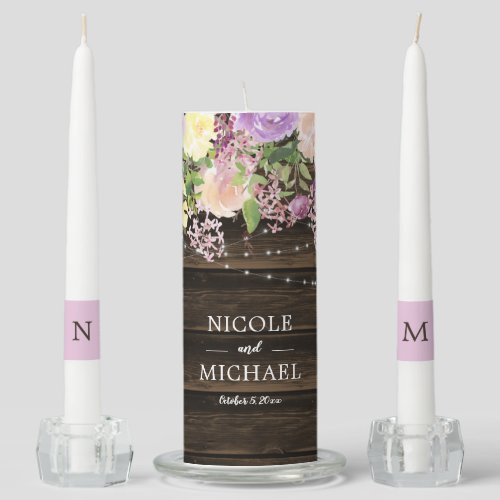 Rustic Purple Floral String Lights Wedding Unity Candle Set