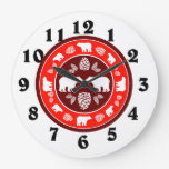 Rustic red bear pinecone round clock