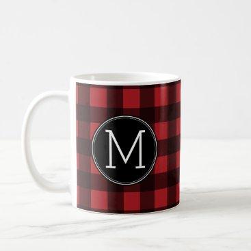 Rustic Red & Black Buffalo Plaid Pattern Monogram Coffee Mug