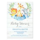 Rustic Safari Jungle Animals Boy Baby Shower Invitation