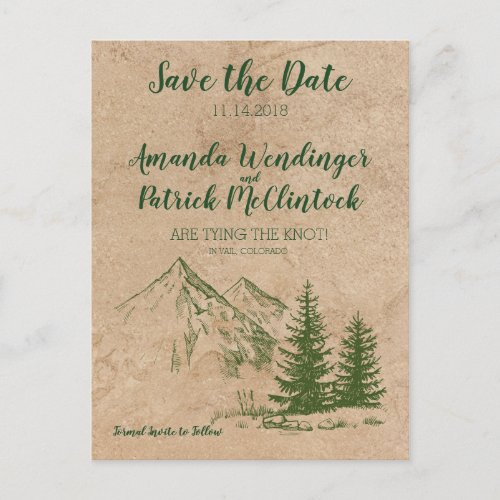 Rustic Scenic Mountain Save the Date Postcard