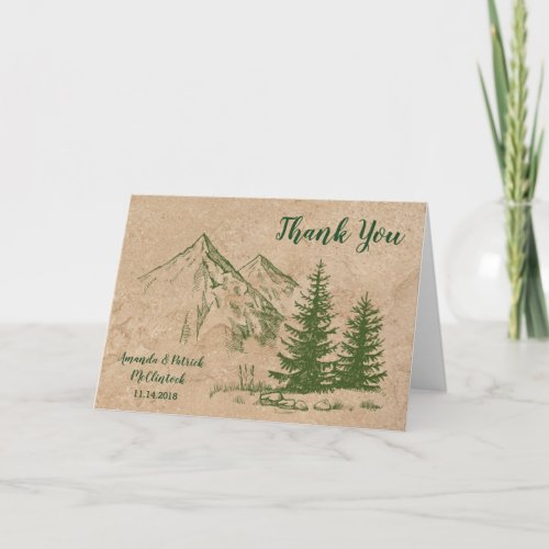 Rustic Scenic Mountain Wedding Thank You Card