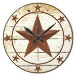 Rustic  star wheel large clock