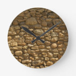 Rustic Stone Wall Round Wall Clocks