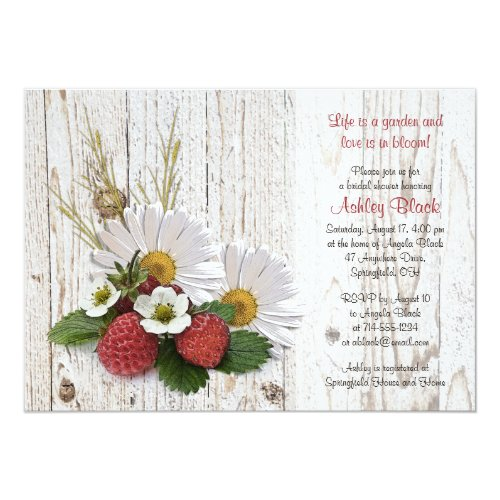 Rustic Strawberries Daisy Bridal Shower Invitation