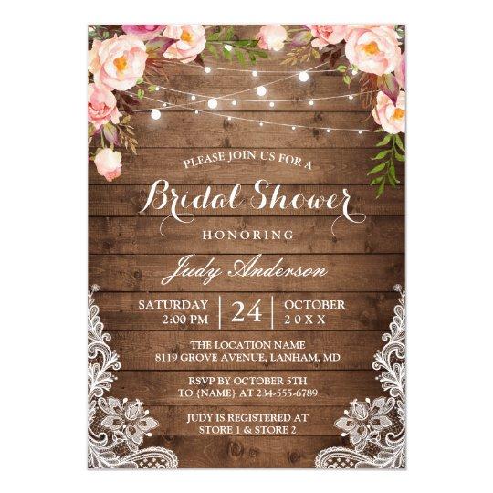 Rustic String Lights Lace Fl Bridal Shower Card