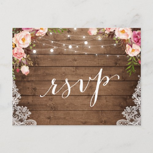 Rustic String Lights Lace Floral Farm Wedding RSVP Invitation Postcard