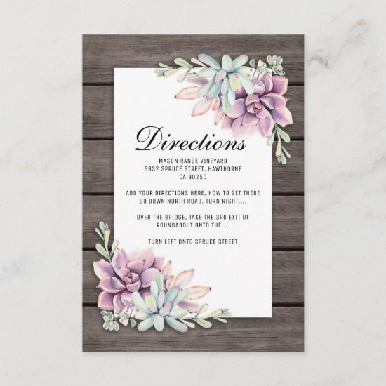 Rustic Succulent Floral Wedding Directions Enclosure Card
