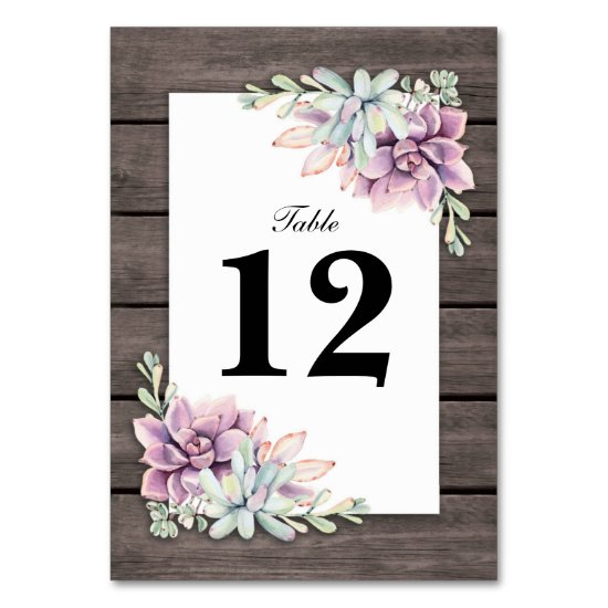 Rustic Succulent Floral Wedding Table Numbers