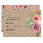 Rustic Summer Floral Kraft Wedding Invitation