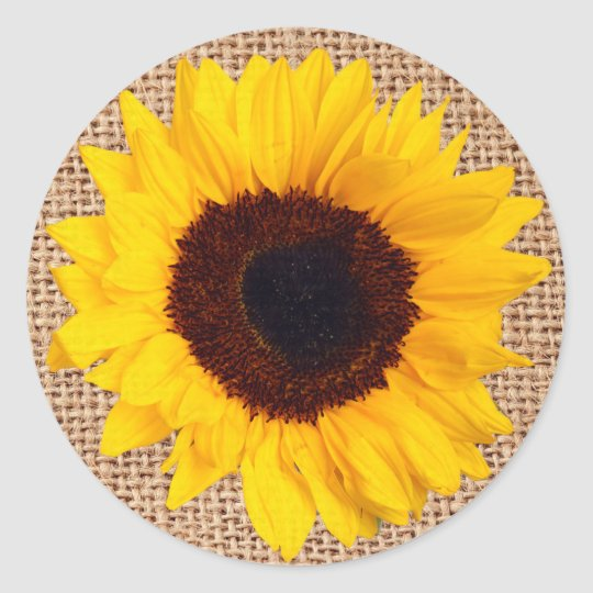 rustic sunflower burlap sticker