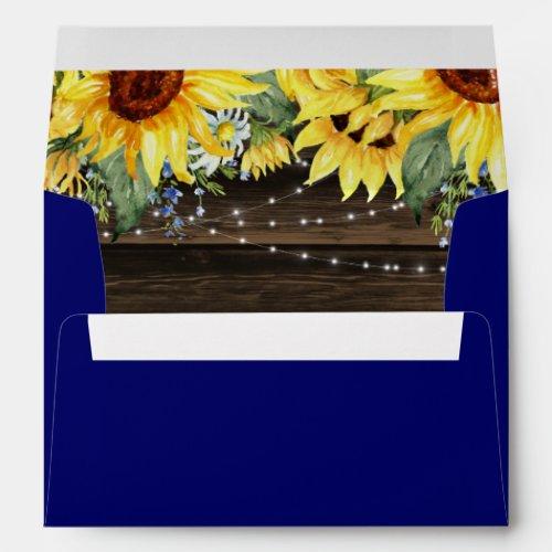 Rustic Sunflower Floral String Lights Blue Envelope