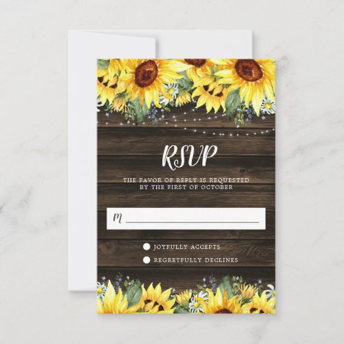 Rustic Sunflower Floral String Lights RSVP Card