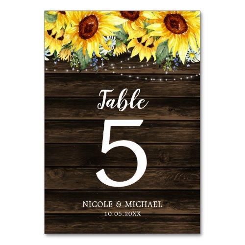 Rustic Sunflower Floral String Lights Wedding Table Number