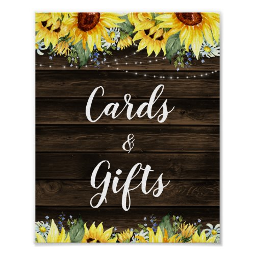 Rustic Sunflower String Lights Cards & Gifts Poster
