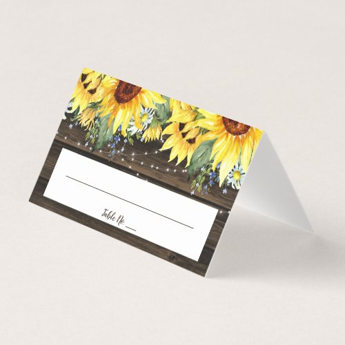 Rustic Sunflower String Lights Wedding Folded Place Card