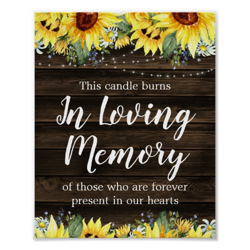 Rustic Sunflower String Lights Wedding Memorial Poster