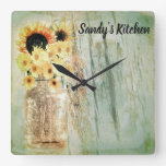 Rustic Sunflowers & Mason Jar Kitchen Clock