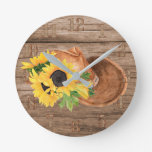 Rustic Sunflowers Wood Cowboy Hat Southern Modern Round Clock
