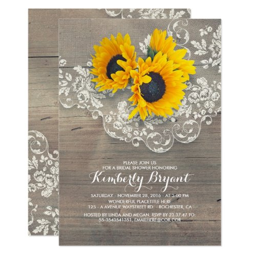 Rustic Sunflowers Wood Lace Bridal Shower Invitation