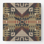 Rustic Taupe Brown Red Black Eclectic Ethnic Art Square Wall Clock