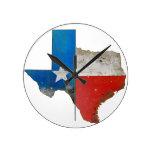 Rustic Texas Sign Round Clock