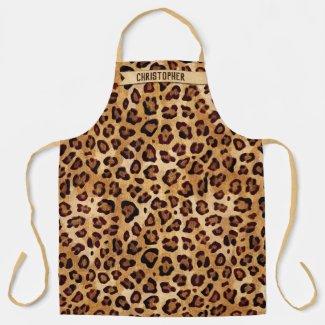 Rustic Texture Leopard Print Add Name Apron