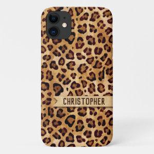 Rustic Texture Leopard Print Add Name iPhone 11 Case