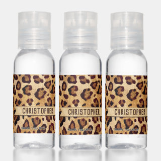 Rustic Texture Leopard Print Add Name Hand Sanitizer