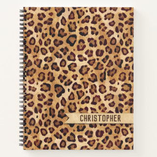 Rustic Texture Leopard Print Add Name Notebook